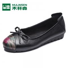 木林森女单鞋 秋季新款牛皮蝴蝶结平底鞋复古舒适休闲套脚鞋 黑色 35
