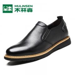 木林森男鞋冬季男士商务皮鞋男黑色休闲鞋透气真皮正装鞋圆头鞋子 红棕色 38