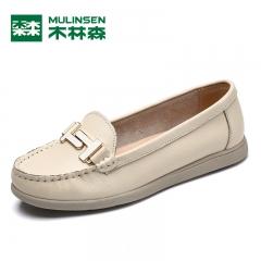 木林森女鞋秋季新品 圆头浅口金属装饰平底舒适单鞋女乐福鞋 米白色 35