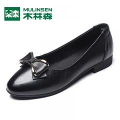 木林森单鞋女平底鞋春新款金属蝴蝶结牛皮圆头套脚浅口平跟鞋 黑色 35