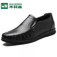 木林森商务休闲皮鞋冬季新款男士日常扁头超纤透气套脚驾车 黑色 38