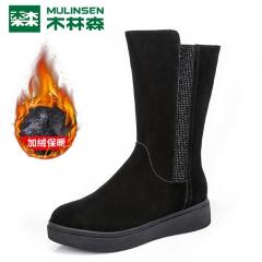木林森女鞋冬季新款韩版雪地中筒靴百搭短靴女靴子马丁靴 黑色 35