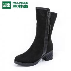 木林森女鞋冬季新款加绒保暖中跟女靴子粗跟中筒靴瘦瘦靴棉靴 黑色 35