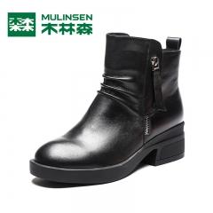 木林森真皮女鞋冬季新款时尚粗跟短靴圆头女靴高跟英伦马丁靴 黑色 35