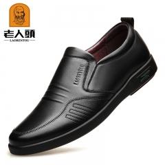 老人头男鞋秋季新款商务休闲皮鞋真皮透气软底男士皮鞋套脚爸爸鞋 黑色 38