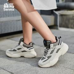 森马女鞋bf运动鞋女韩版ulzzang原宿百搭 秋冬季厚底跑步鞋子 绿色 35
