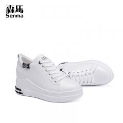 森马厚底休闲鞋女鞋 新款秋季增高小白鞋女显瘦平底白色松糕鞋 白黑色 35