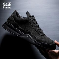 森马男鞋子板鞋 新款秋季韩版潮鞋百搭透气学生男士黑色休闲鞋 黑色 38