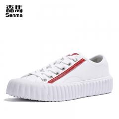 森马小白鞋女皮面百搭平底鞋子女新款春季学生文艺清新休闲鞋板鞋 白红色 35
