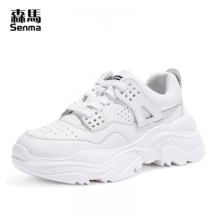 森马chic运动鞋女新款春季ins百搭软底休闲白色跑步鞋女学生 白色 35