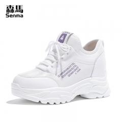森马全黑色运动鞋女春季百搭轻便学生厚底超火白色跑步鞋子休闲鞋 白色 35