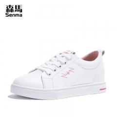 森马学生休闲鞋女潮鞋子女新款春季韩版百搭平底港风白色板鞋 白粉色 35