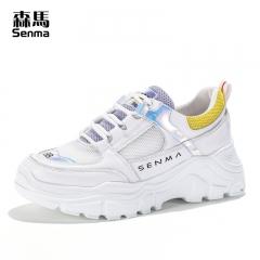 森马女鞋新款夏季透气ins运动鞋韩版百搭网红增高学生网面鞋 白色 38