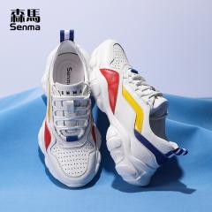 森马男鞋子休闲运动鞋男夏天透气韩版学生轻便时尚白色网面跑步鞋 白色 38
