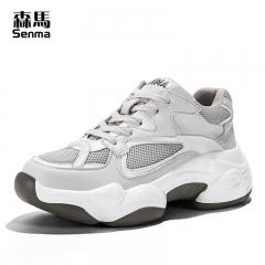森马网红女款鞋夏季透气学生韩版百搭增高厚底网面运动老爹鞋 灰色 35