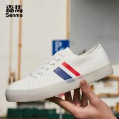 森马白色帆布鞋男夏季透气百搭潮流韩版原宿风低帮学生休闲小白鞋 白色 38
