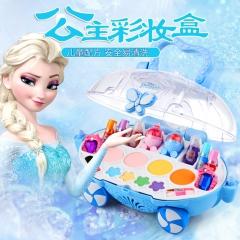 迪士尼无毒儿童化妆品公主彩妆盒套装小女孩女童口红安全玩具演出 冰雪系列蓝色印象水晶化妆车