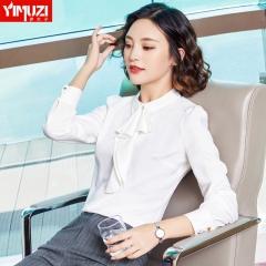 职业衬衫女长袖春装新款韩范学生面试正装上衣工装白衬衣 白色衬衫 S