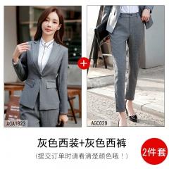 职业套装女新款时尚气质修身长袖灰色西装英伦风冬装正装 灰色西装+灰色西裤 S