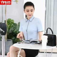白衬衫女新款衬衣女潮韩版修身气质上衣夏季短袖职业装工作服 蓝色衬衫 S