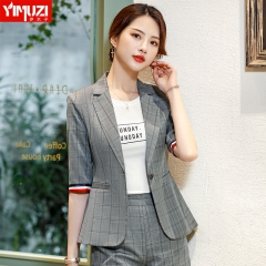 灰色小西装女2019春夏新款时尚韩版修身显瘦休闲百搭格子职业外套 单件灰格西装 S