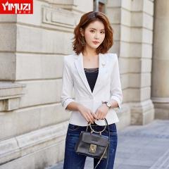 伊木子西装外套女新款春夏女装韩版英伦风时尚休闲正装小西服 单件白色外套 S