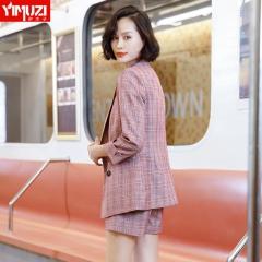 小西装套装女韩版时尚格子两件套休闲短裤夏装新款女装职业装 粉格外套+粉格短裤 S