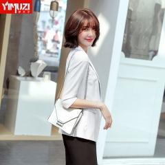 chic小西装外套女新款春季休闲时尚气质白色韩版OL英伦风西服 单件白色外套 S