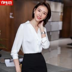 红色衬衫女设计感小众时尚洋气方领v领职业衬衣长袖新款春装 白色 S
