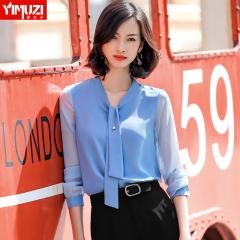 蓝色雪纺衬衫女新款小衫春装时尚长袖打底网纱内搭上衣 蓝色衬衫 S