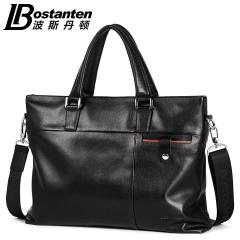 波斯丹顿真皮手提包男商务男士手拎包青年公文包横款电脑包男包包 黑色 纯色
