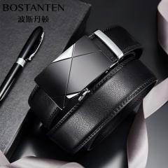 波斯丹顿男款可拆卸牛皮双扣头皮带男士腰带礼盒套装 黑色 120cm
