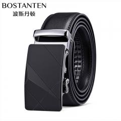 波斯丹顿男士腰带自动扣皮带牛皮商务休闲腰带皮带 黑色 105cm