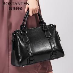 波斯丹顿复古油蜡时尚OL大气斜挎包大容量手提包波士顿包 黑色 牛二层皮