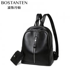 波斯丹顿女款牛皮百搭青年背包钱包双肩包女 黑色 纯色