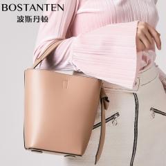 波斯丹顿新品多背法水桶包女包手提包单肩包斜挎包 杏色 牛二层皮