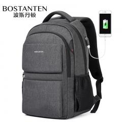 波斯丹顿双肩包潮流男士商务电脑包韩版大容量书包休闲旅行男背 深灰色 大
