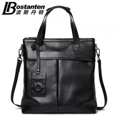波斯丹顿真皮男士手提包商务男包竖款单肩斜挎休闲包包公文皮包潮 黑色 中