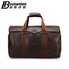每日推荐-波斯丹顿男女旅行包 牛皮行李包 真皮大容量手提包 咖色 头层牛皮