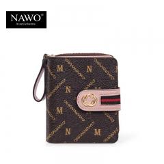 新款PVC欧美短款女士钱包折叠卡包多卡位时尚女皮夹包 啡色 PVC