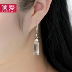 倾爱925银耳环复古中国风木兰耳坠气质耳环母亲节礼物送妈妈女友 木兰耳环一对 女