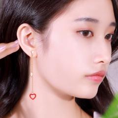 倾爱小红心不对称纯银耳环女气质韩国个性百搭长款精致耳坠新款 小甜心不对称耳环 银饰
