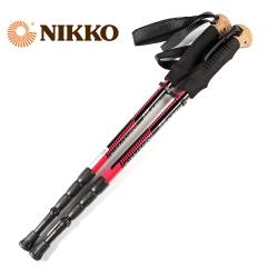 Nikko日高户外登山杖可伸缩行山杆四节铝合金徒步爬山杖NP066 黑色 55-125cm
