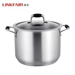 凌丰LINKFAIR 304不锈钢双耳高汤锅深汤锅三层复合底电磁炉煤气灶 304不锈钢 24cm