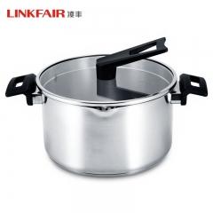 凌丰LINKFAIR 304不锈钢汤锅复合底无涂层可立锅盖电磁炉通用 304不锈钢 24cm