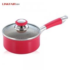 凌丰LINKFAIR 宝宝辅食小奶锅煮奶煮面涂层不粘锅玻璃盖16cm 16cm 铝合金