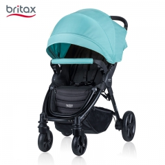 britax宝得适车可折叠四轮避震婴儿推车 单手收车座舱防呛奶设计 静谧蓝 高景观推车