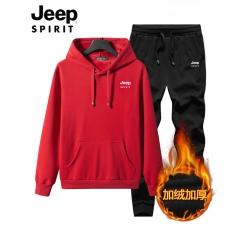 吉普JEEP 卫衣套装男秋冬款加绒加厚连帽运动两件套 红色 M