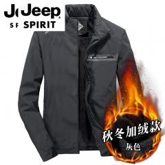 吉普JEEP  秋冬季男士新款商务夹克加厚加绒外套 灰色 M
