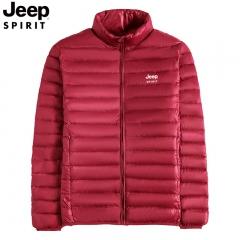 吉普JEEP 轻薄羽绒服男短款立领男士冬季外套宽松保暖休闲外衣男潮流 红色 M